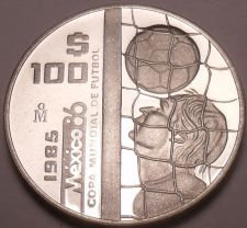 Buy Rare Silver Proof Mexico 1985 100 Pesos~World Cup Soccer Games~9,006 Minted~Fr/S
