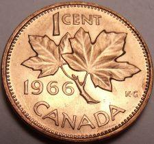 Buy Gem Brilliant Unc Canada 1966 Maple Leaf Cent~Free Shipping