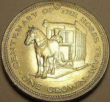 Buy Unc Isle Of Man 1976 Crown~Horse Drawn Tram~Only 50,000 Minted~Free Shipping