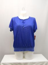 Buy Faded Glory Women's Peasant Top Size 20 Solid Blue Smocked Elastic Short Sleeve