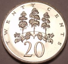 Buy Large Rare Proof Jamaica 1974 20 Cents~22,000 Minted~Mahoe Tree~Free Shipping