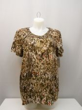Buy White Stag Women's Tunic Top Size XL Brown Animal Macrame Scoop Neck Pullover