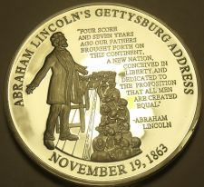 Buy Silver Plated Proof Abraham Lincoln Gettysburg Address 40mm Medallion~Free Ship