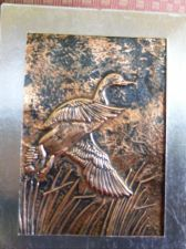 "Buy Hand Hammered Copper 3D ""Goose in Flight"" Matted & Framed Picture Wall Art"