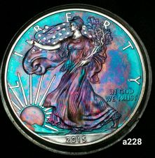 Buy 2015 Rainbow Toned Silver American Eagle Coin 1 ounce fine uncirculated #a228