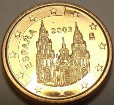 Buy Gem Unc Spain 2003 1 Euro Cent~Cathedral of Santiago de Compostela~Free Shipping