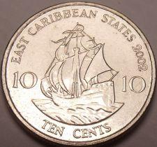 Buy Gem Unc East Caribbean States 2002 10 Cents~Sir Frances Drakes Golden Hind~Fr/Sh