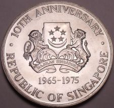 Buy Massive Unc Silver Singapore 1975 Dollar~10th Anniversary Of Independence~Fr/Shi