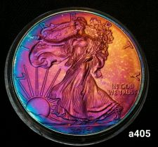 Buy 2015 Rainbow Monster Toned Silver American Eagle Coin 1oz uncirculated #a405