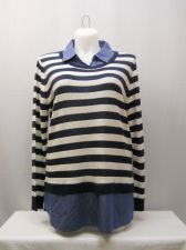 Buy Faded Glory Women's Sweater Size 20 Striped Layered Twofer Collared Pullover
