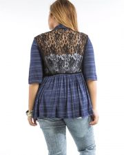 Buy Aban Navy Striped Lace Back 3/4 Sleeves Open Front Cardigan Size 1XL-3XL