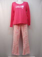 Buy Ladies Pajama Set Plus Size 2X Knit Top & Plush Fleece Pants Dream Applique Pink