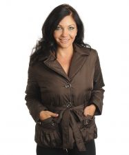 Buy Plus Size Brown Button Belted Double Collar, Pockets,Lining Coat/Jacket 1XL-3XL
