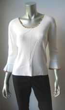 Buy J.A.C. NEW White Stretch Viscose Rainbow Collar 3/4 Sleeve Pull Over Blouse L PR