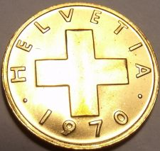 Buy Gem Uncirculated Switzerland 1970 1 Rappen~Cross~Excellent Coin~Free Shipping