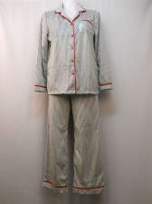 Buy Ladies Pajama Set Size XL Minky Fleece Notch Collar Top & Pants Striped Red Trim