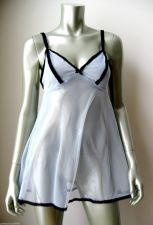 Buy Victoria's Secret NEW Blue Sheer Mesh Black Lace Ribbon Pullover Chemise M PR