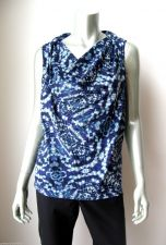 Buy Attention NEW Navy Tie-Dye Printed Drapey Sleeveless Pullover Blouse Top S/C PR