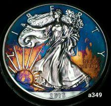 Buy High Grade Rainbow Toned Silver American Eagle 1oz fine silver uncirc. #a349