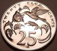 Buy Large Rare Proof Jamaica 1971 25 Cents~14K Minted~Hummingbirds~Free Shipping