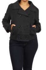 Buy Ambiance Black/Charcoal Warm Winter Wool Blend Bomber Jacket Plus Size 1x 2x 3x