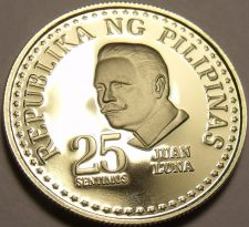 Buy Rare Proof Philippines 1976 25 Sentimos~Only 9,981 Minted~Bank Seal~Free Ship