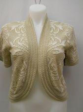 Buy Faded Glory Women's Pattern Crocheted Shrug Size XL Beige Open Wrap Short Sleeve