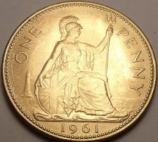 Buy Gem Unc Great Britain 1961 Penny~Britannia Seated Right~Excellent~Free Shipping