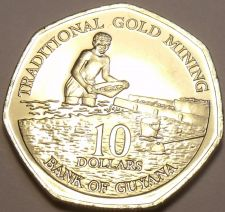 Buy Gem Unc Guyana 2007 $10.00~Traditional Gold Mining With Pans~Free Shipping