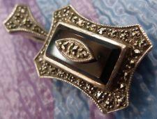 Buy Vintage Pendant Sterling Silver Sparkling Marcasite On Cobalt Deep Blue Stone