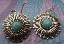 Buy Hook Earrings : Sterling Silver Blue Turquoise Dangling Daisy Signed
