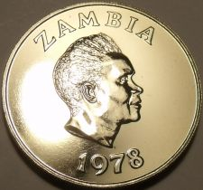 Buy Rare Proof Zambia 1978 5 Ngwee~Morning Glory~Low Mintage 24,000~Free Ship
