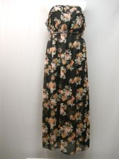 Buy SIZE 2XL Womens Maxi Dress NO BOUNDARIES Floral Strapless Ruffled Neck Belted