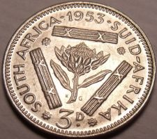 Buy Unc Silver South Africa 1953 3 Pence~Protea Flower~Triangle Bars~Free Shipping