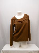 Buy SIZE M Womens Sweater SALON STUDIO Long Sleeve Ruffle Neck Solid Brown Career