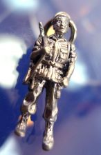 Buy CHARM: vintage sterling 925 silver SOLID 6.5 grams SOLDIER by CREST CRAFT