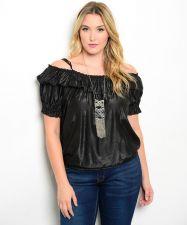 Buy Zenobia Women's Peasant Top Size XL-3XL Solid Black Off Shoulder Spaghetti Strap