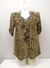 Buy Siren Lily Women's Knit Top Plus Size 1X Sheer Animal Short Sleeve Ruffle V-Neck