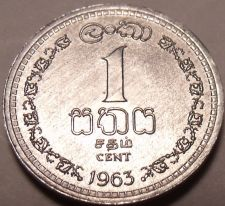Buy Gem Unc Ceylon 1963 One Cent~1st Year Ever Minted~Free Shipping~