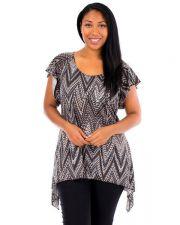 Buy Brittany Black Women's Tops Plus Size Asymmetrical Cap Sleeves Tunic Clubwear