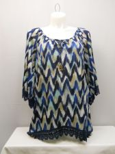 Buy French Laundry Women's Tunic Top Plus Size 1X Blue Scoop Neck Lace Trim Pullover