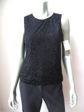 Buy Delicates NEW Black Front Lined Stretch Floral Velour Sleeveless Tank Top S PR