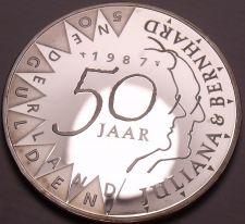 Buy Rare Cameo Silver Proof Netherlands 1987 50 Gulden~52,872 Minted~Wedding~Fr/Ship