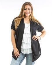 Buy Roman Black with Ruffled Underlay Short Sleeve Layered Knit Top Size 1X-3X
