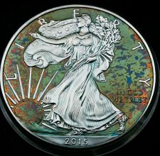 Buy 2015 Rainbow Toned Silver American Eagle 1 ounce fine silver uncirculated #a287