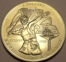 Buy Rare Gem Unc Liberia 2000 $5.00~Olympic Javelin Thrower~Only 20,000 Minted~Fr/Sh