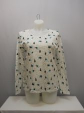 Buy SIZE XXL Womens UGLY CHRISTMAS Knit Top WHITE STAG White Scoop Neck Long Sleeves