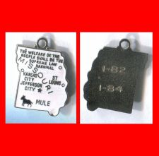 Buy vintage WHITE ENAMEL TRAVEL SOUVENIR MAP CHARM : MISSOURI : TEENY CHIP