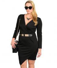Buy Janette Plus Dress Plus Size 1XL-3XL Black/Red Belted Long Sleeves Hi-Lo Hem
