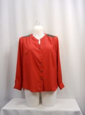 Buy Elementz Red/Black Faux Leather Long Sleeves Button Closure Top Plus Size 1X
